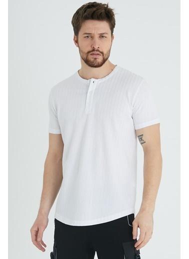 XHAN Hardal Düğmeli Likralı T-Shirt 1Kxe1-44643-37 Beyaz